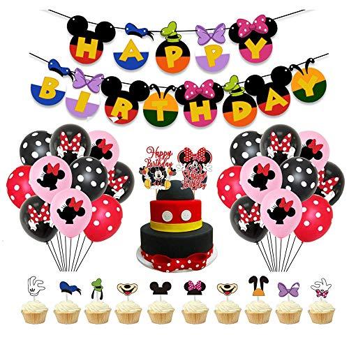 Smileh Minnie Mouse Themed Geburtstag Dekorationen für Mädchen zum Happy Birthday Banner Tortenaufsätze