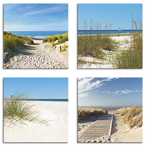 Artland Leinwandbilder auf Holz Wandbild Bild Set 4 teilig je 20x20 cm Quadratisch Landschaft Strand Creme Sand Düne S6MI