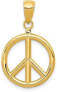 14k Yellow Gold 3d Peace Sign Pendant Charm Necklace Man Inspirational Luck Support Fine Jewelry For Dad Mens Gifts For Him