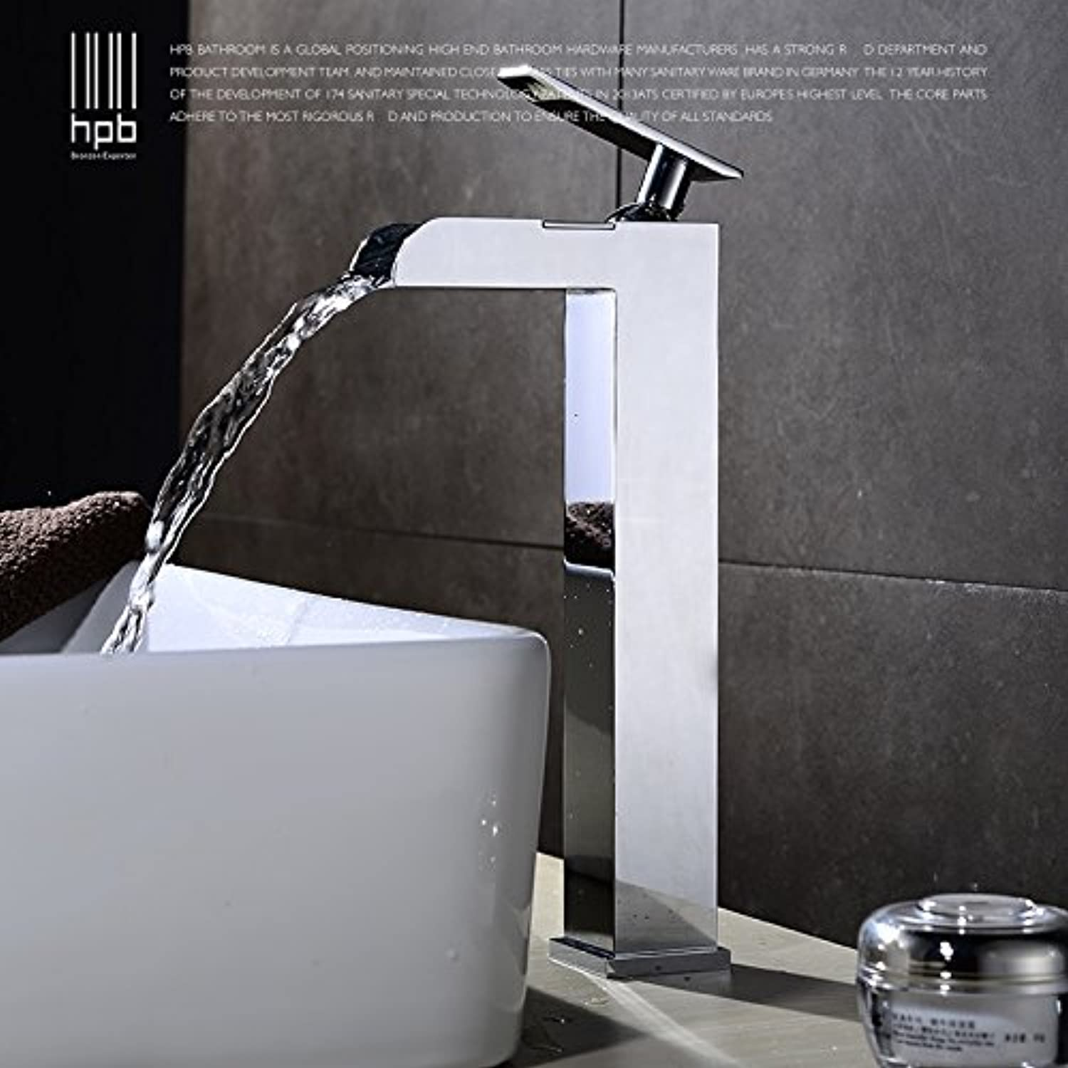 Hlluya Professional Sink Mixer Tap Kitchen Faucet The copper hot and cold waterfall surface basin mixer with high basin vanity area with 盆 basin faucet, High, HP3116