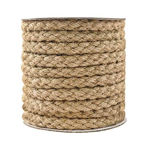 Tenn Well - Cuerda trenzada de yute, color marrón 11MM, 25.3FT