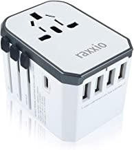 Universal Travel Adapter by Raxxio, International Smart Power Plug with 2.4A 4 USB Ports, European Adapter, Converter for US, EU, Canada, Europe, UK, AU & Asia (Type C USB White)