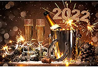 OFILA 2022 New Year Champagne Party Backdrop Polyester 7x5ft New Year Eve Backdrop Happy New Year Photography Background Festival Celebration Horseshoe Champagne Toast Fireworks Photos Props