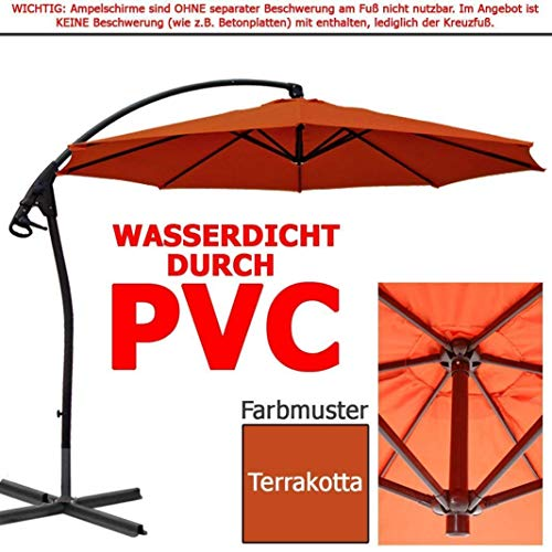 habeig WASSERDICHT Ampelschirm 3m Terrakotta rot durch PVC Schirm 300cm Sonnenschirm