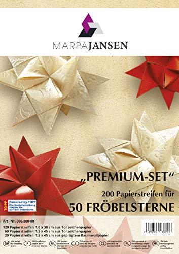 MarpaJansen Fröbelsterne Premium-Set (200 Streifen, 1 x 30 cm & 1,5 x 45 cm), Naturpapier, farblich passend zu Weihnachten