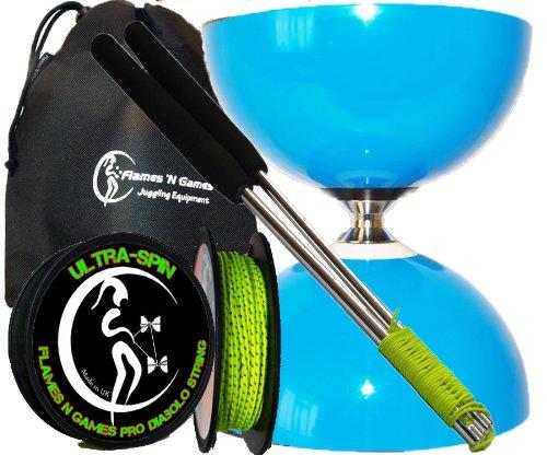 Sundia Fly (Blau) Groß Profi Komplett-Diabolo Set (Freilaufdiabolo) mit Freiläufer (3K Dreifach-Kugellager), Diablo Alu-Handstäbe und Diaboloschnur 10m Rolle Ultra Spin +Reisetasche.
