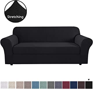 High Stretch 2 Pieces Jacquard Lycra Sofa Cover / Slipcover Soft Spandex Form Fit Slip Resistant Stylish Furniture Protector Coach Covers Machine Washable for Sofa 3 Seater, Large Size, Black