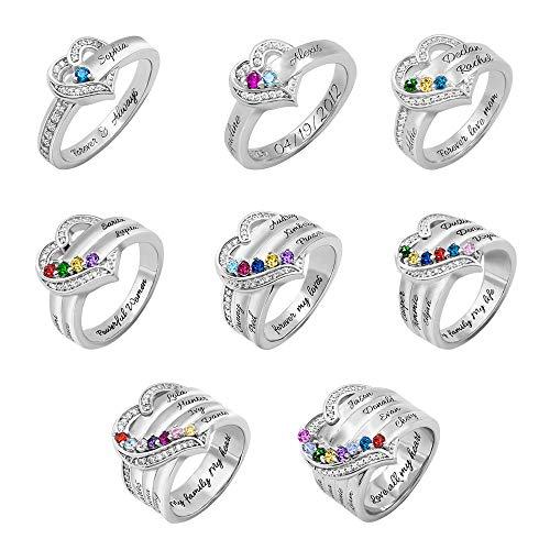 Anillo de plata de ley 925 con piedra natal personalizada, anillo de plata de ley 925, anillo de compromiso de boda significativo regalo para ella