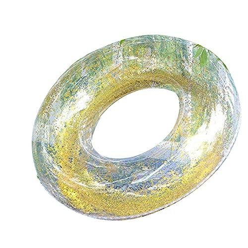 Beifeng Anillo de natación transparente con pluma/lentejuelas tubo de natación inflable balsa juguetes para agua verano 82 cm de diámetro