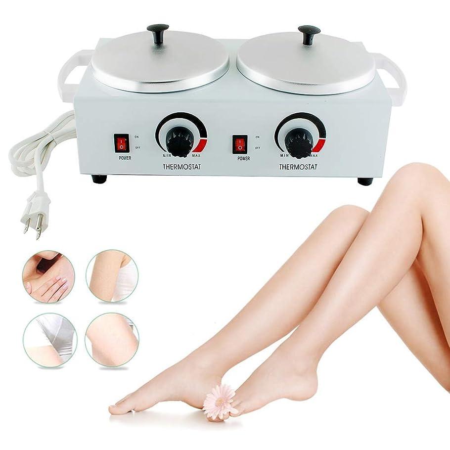 剪断季節マイクワックスウォーマー電気ワックスヒーターダブルパラフィンポット美容機フェイシャルスキン機器スパ調節可能な温度脱毛ツール用女性男性トータルボディニーズ,AmericanStandardPlug