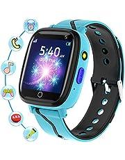 Smartklocka för barn - barn smartklockor för pojkar och flickor med samtal SOS musikspelare kamera väckarklocka spel inspelare HD pekskärm smartwatch födelsedagspresenter för pojkar och flickor (blå)