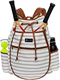 LISH Down The Line Canvas Tennis Racket Backpack - Women's Striped Print Drawstring Racquet Holder Bag (Grey Stripe)