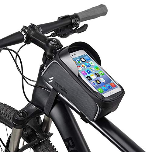 YUYAXBG Fashion Bike Frame Bag De fietstas is stevig met een zonneklep Het Tpu Touch Screen is geschikt voor mobiele telefoons onder 6,0 inch, zwart