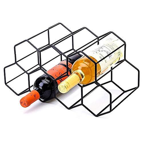 LOGO 9 Botellas Negro Metal del Estante del Vino, Independiente, del Estante del sostenedor del Vino de Mesa, Soporte for Botella de Vino encimera - Diseño geométrico de Bodega Bar Gabinete