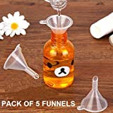 Happy2Buy Pack of 5 Mini Funnel, Transparent Funnels for Bottle Filing, Lab Bottle, Chemical, Liquid & Wide Uses of Small Samples of Perfumes etc