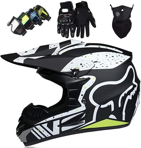 GENGJ Casco de Moto de Motocross de Integrales para Niños y Adultos Gafas + Guantes + Máscara para Scooter Eléctrico Dirt Bike MTB MX - Homologado ECE, Negro Mate