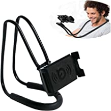 Lazy Cell Phone Mount Hanging on Neck, Golden^Li Flexible Long Arms Mobile Phone Stand, Free Rotating Cell Phone Holder Clip Bracket for Desk Bed, Bike and Motorcycle (Black)