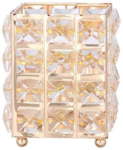 FülleMore Make-up Pinselhalter Bleistifthalter Hochzeit Weihnachten Kerzenhalter 12x10x10cm Kristall Kosmetik Aufbewahrungsbox Lippenstift Augenbrauenstift Behälter (Gold)
