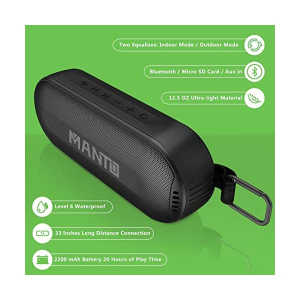 Durable Bluetooth Speaker, Portable Outdoor Wireless with Hi-Fi Stereo Sound and Rich Bass, 20-Hour Playtime, Built-in Mic AUX & SD Input for iPhone Samsung PC, IPX6 Waterproof Black 4