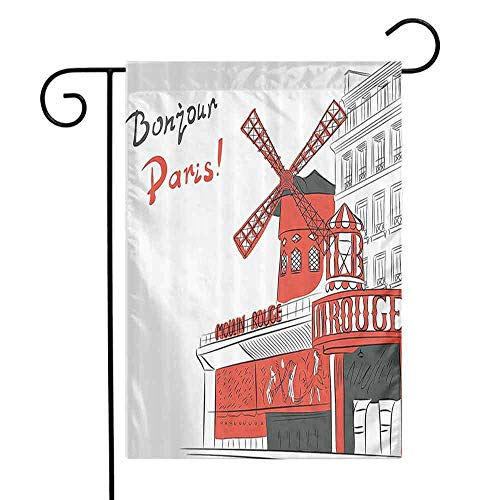 Garden Flags Double-Sided Polyester Vertical Outdoor Yard flag Paris Sketch Art of Urban Landscape with Cabaret Moulin Rouge in Paris Modern City Orange Grey White Home Decorative Christmas 12x18