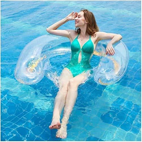 WCY Piscina Inflable Caca de natación Flotador Inflable Transparente Piscina Tumbona Chispa colchón de Aire Agua (Color: Oro) yqaae (Color : Gold)