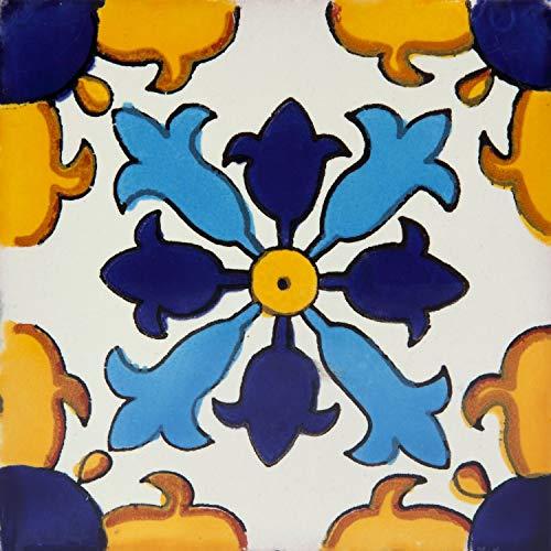 Juanlu - Piastrelle Messicane Talavera   30 piezzi 10,5x10,5 cm   Mattonelle colorati, decorati   Specchio da parete cucina, bagno, WC   Originale, invece di adesivi pvc   Stile marocchine, spagnole