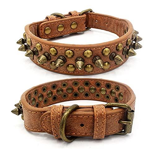Collar de Perro de Cuero Punk con Clavos y Remaches con Tachuelas Collares de Perro con Clavos Redondos Productos duraderos para Mascotas para Perros pequeños / medianos / Grandes XS-XL, marrón, XS