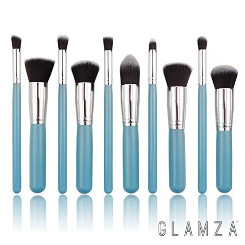 Glamza Lot de 10 pinceaux de maquillage professionnels Bleu