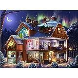 Diamond painting Luna noche de navidad Completo Kit por Número 5D DIY para Pared Decoración del Hogar Bordado de Punto de Cruz adultos Diamante Pintura Arte Manualidades,Diamante redondo,50x70cm