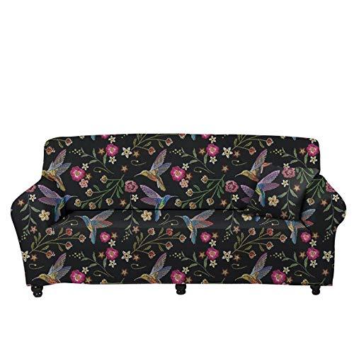 chaqlin Funda elástica para sofá de 1 plaza, con estampado floral de pájaros, fundas de tela jacquard para sofá, sillón, protector de muebles elástico universal para niños y gatos, fundas de sofá