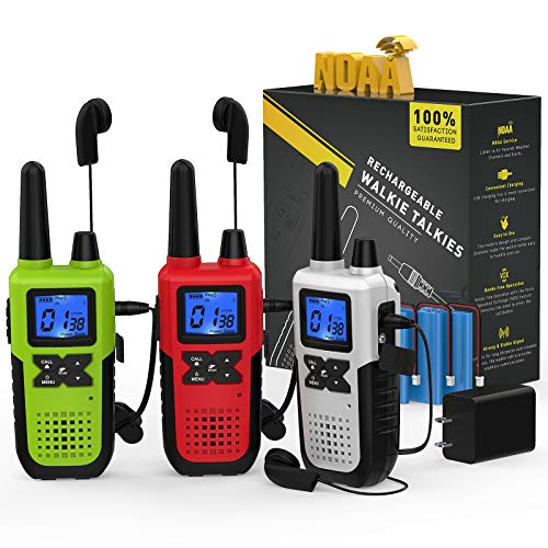 3 Rechargeable Walkie Talkies for Adults Long Range - Long Distance 2 Way Radios Walkie Talkies 3 Pack Work FRS Walkie Talkies with Earpiece and Mic Set Headsets USB Charger Battery NOAA Weather Radio