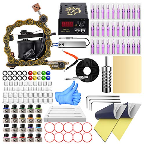Wormhole Tattoo Kit for Beginner Complete Tattoo Machine Kit with 20 Tattoo Inks, Tattoo Power Supply, Starter Tattoo Gun Kit Tattoo Beginner Kit TK098