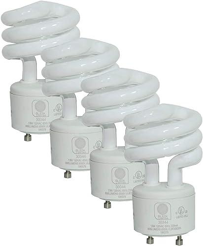 SleekLighting - 13Watt GU24 Base 2 Prong Light Bulbs- UL approved-120v 60Hz Light Bulb- Mini Twist Lock Spiral -Self ...