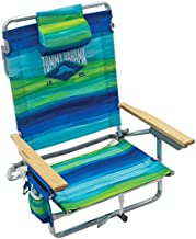 Tommy Bahama 5-Position Classic Lay Flat Folding Backpack Beach Chair, Blue and Green Stripe