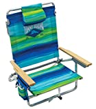 Tommy Bahama 5-Position Classic Lay Flat Folding Backpack Beach Chair - Blue and Green Stripe, 23' x 25.25' x 31.5'