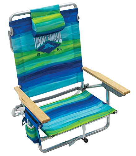"""Tommy Bahama 5-Position Classic Lay Flat Folding Backpack Beach Chair, Blue and Green Stripe, 23"""" x 25.25"""" x 31.5"""""""