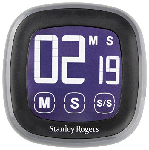 Stanley Rogers LED-Touch-Kurzzeitwecker, Timer mit beleuchtetem LED Touch Display, magnetischer Küchenwecker, digitaler Küchentimer (Farbe: Schwarz/Grau), Menge: 1 Stück