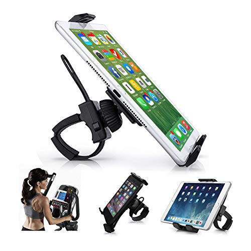 "AboveTEK Universal Handlebar Mount for iPad – iPhone - Tablet – Anti Shock 360 Degree 3.5"" to 12"" Expandable Pole Strap Phone Holder Cradle for Indoor Cycling, Gym, Tread Mill, Spin Bike, Elliptical"