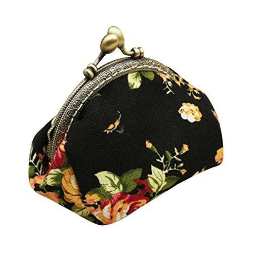Amlaiworld Frauen Lady Retro Vintage Flower kleine Brieftasche Hasp Handtasche Clutch Bag (Schwarz)