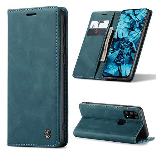 AKC Coque Compatible avec Samsung Galaxy M31 Cover Cuir Housse Pochette Fonction Stand Ultra Mince Protection Antipoussière Case-Bleu