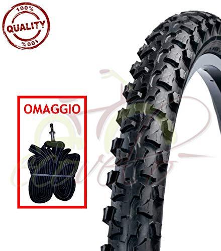 1 COPERTONE Nero + 1 Camera d'Aria 20 X 1.90 (50-406) MTB Mountain Bike Bici Bicicletta