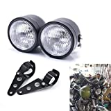 Motorcycle Headlight, Universal Twin Front Head Lamp with Bracket For Harley Street Fat Boy Dual Sport Dirt Bikes Street Fighter Naked Cafe Racer (Style 1)