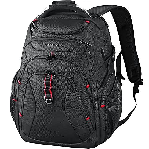 """KROSER Sac à Dos pour Ordinateur Portable de Voyage 17.3"""" XL avec Poches RFID Port et Imperméable Sac à Dos pour Voyage/Université/Affaires/Collège/Hommes/Femmes Laptop Backpack"""