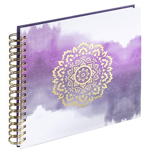 Hama Fotoalbum 28 x 24 cm (Spiralalbum mit 50 weißen Seiten, 25 Blatt, Fotobuch mit Watercolor Design zum Selbstgestalten und Einkleben) lila
