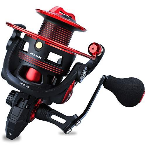 Carrete de Pesca One Bass, Ligero y Giratorio, para Agua Salada y Dulce, Sistema de Arrastre de Fibra de Carbono de 17,9 kg, con rodamiento de Bolas 12+1
