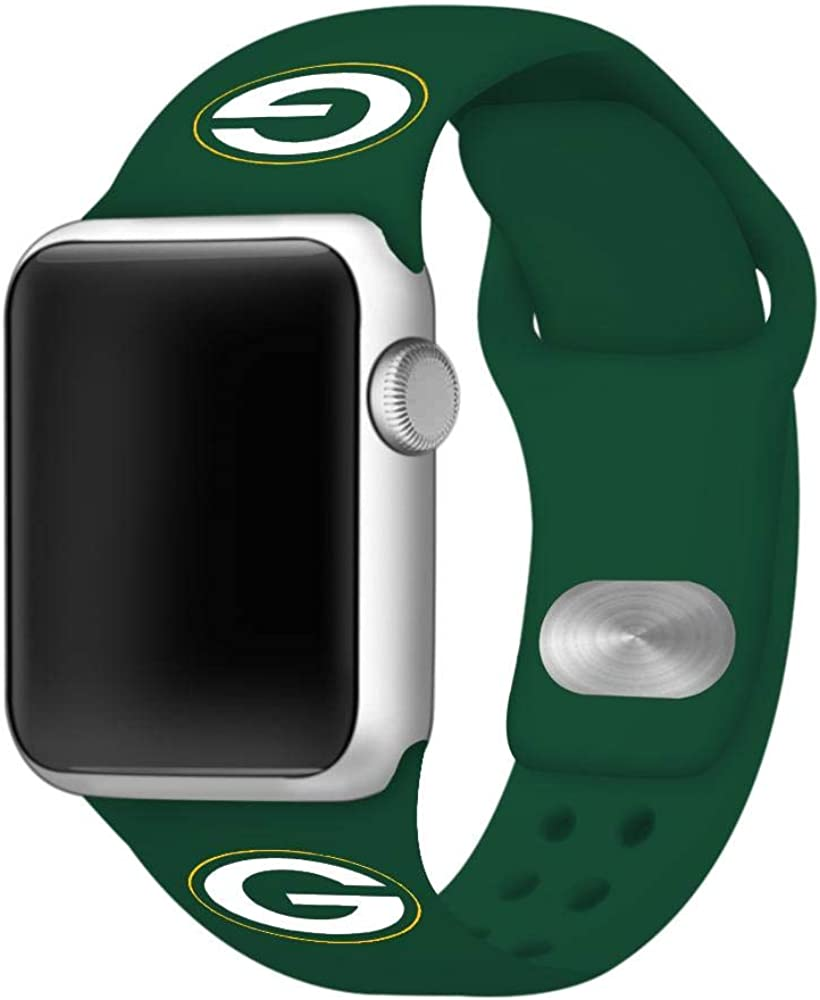 GAME TIME Green Bay Packers Silicone Sport Watch Band Compatible with Apple Watch
