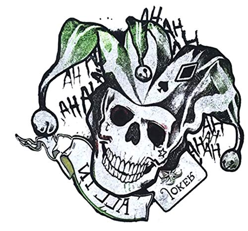 EROSPA® Tattoo-Bogen temporär - Narr Clowns-Schädel Harlekin Totenkopf Joker