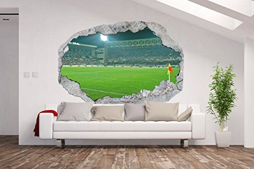Non-Woven Photo Wallpaper / Poster XXL / 3D Wall Illusion / Hole in the Wall * Football Stadium *