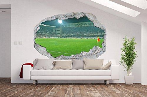 AM Wohnideen Vlies Fototapete/Poster XXL /3D Wandillusion/Loch in der Wand *Fußball Stadion*