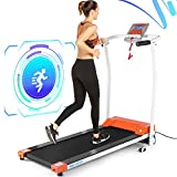 ANCHEER Folding Treadmill, Electric Treadmills for Home with LCD Monitor, Pulse Grip and Safe Key Running Exercise Fitness Machine for Home Gym Office (Orange)